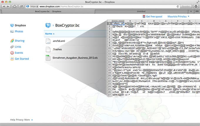 Boxcryptor - Encrypted file view
